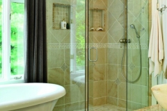Frameless shower with rain shower head